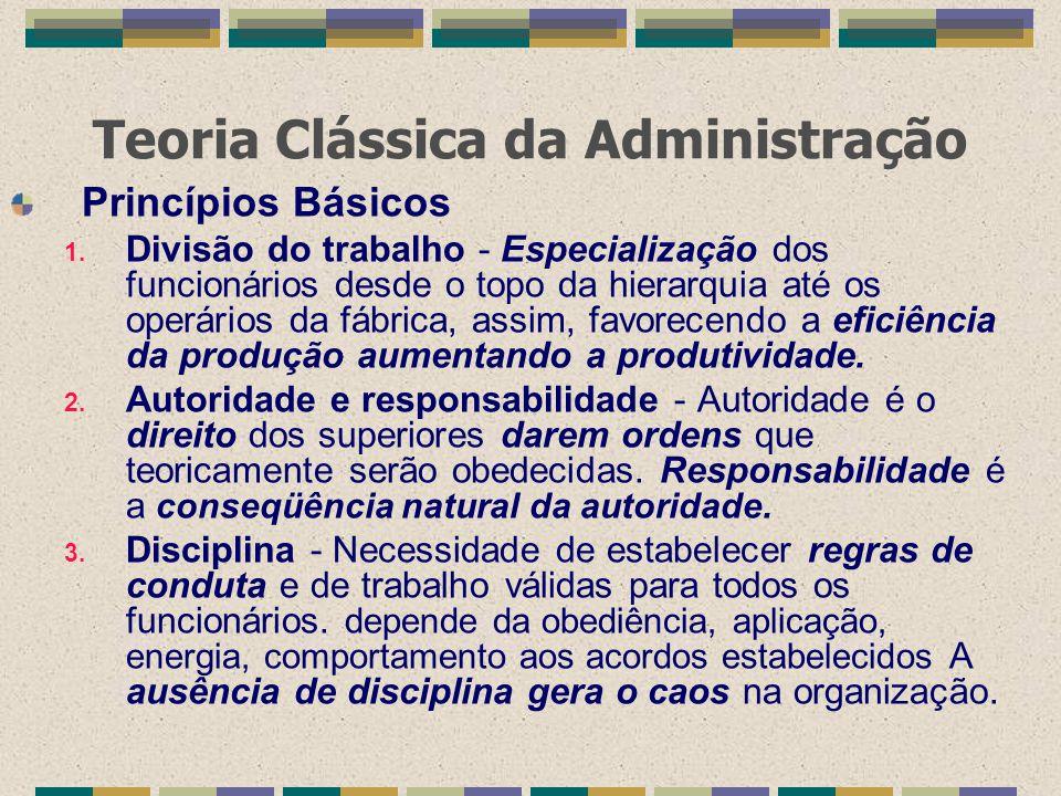 Teoria Clássica da Administração Princípios Básicos 1. Divisão do trabalho - Especialização dos funcionários desde o topo da hierarquia até os operári