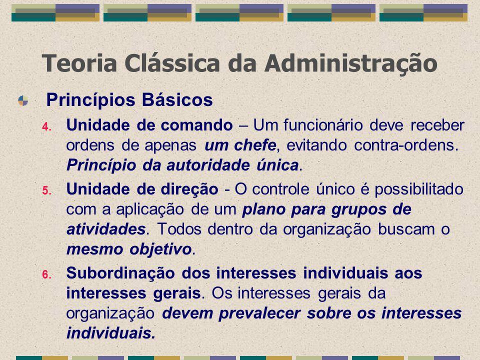 Teoria Clássica da Administração Princípios Básicos 4. Unidade de comando – Um funcionário deve receber ordens de apenas um chefe, evitando contra-ord