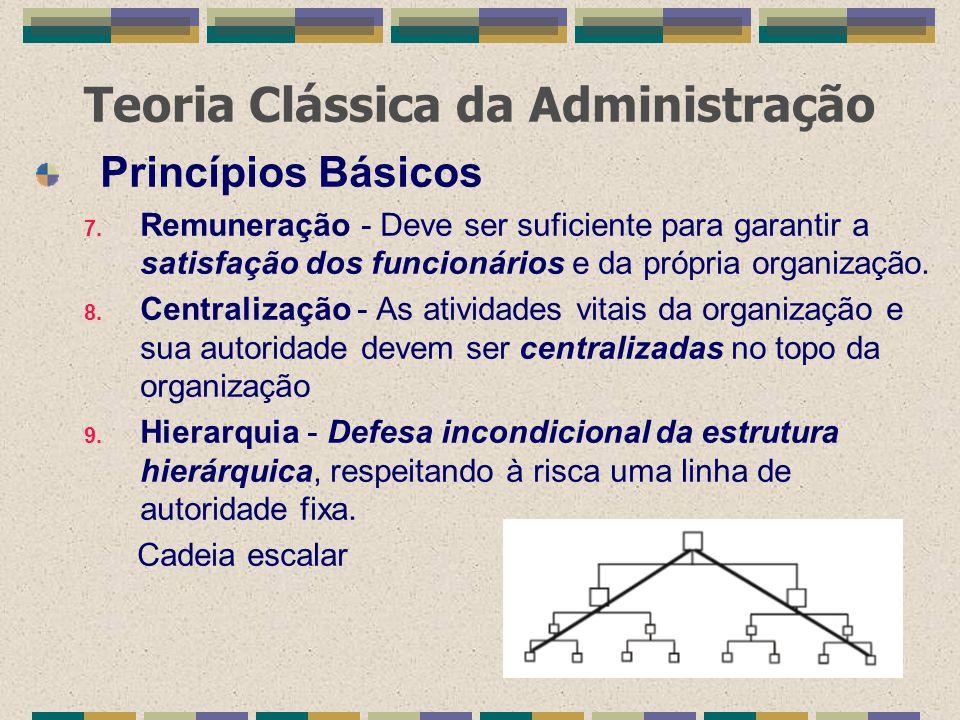 Teoria Clássica da Administração Princípios Básicos 7. Remuneração - Deve ser suficiente para garantir a satisfação dos funcionários e da própria orga