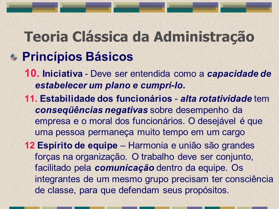 Teoria Clássica da Administração Princípios Básicos 10. Iniciativa - Deve ser entendida como a capacidade de estabelecer um plano e cumpri-lo. 11. Est