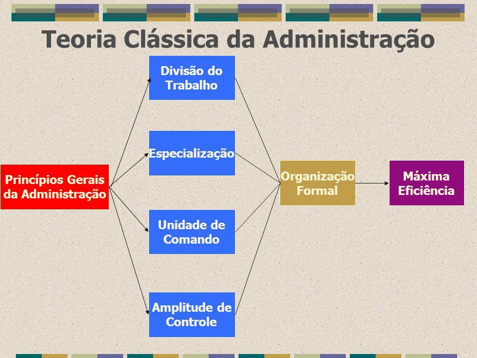 Teoria Clássica da Administração Princípios Gerais da Administração Divisão do Trabalho Especialização Unidade de Comando Amplitude de Controle Organi