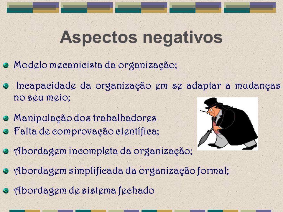 Aspectos negativos Modelo mecanicista da organização; Incapacidade da organização em se adaptar a mudanças no seu meio; Manipulação dos trabalhadores