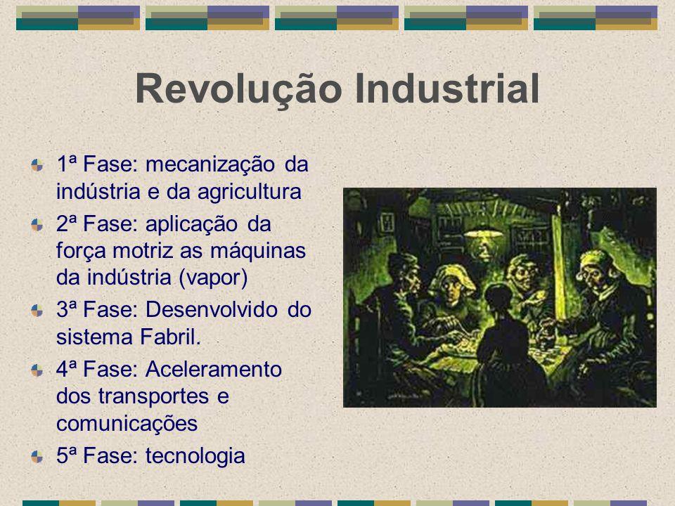 Revolução Industrial 1ª Fase: mecanização da indústria e da agricultura 2ª Fase: aplicação da força motriz as máquinas da indústria (vapor) 3ª Fase: D
