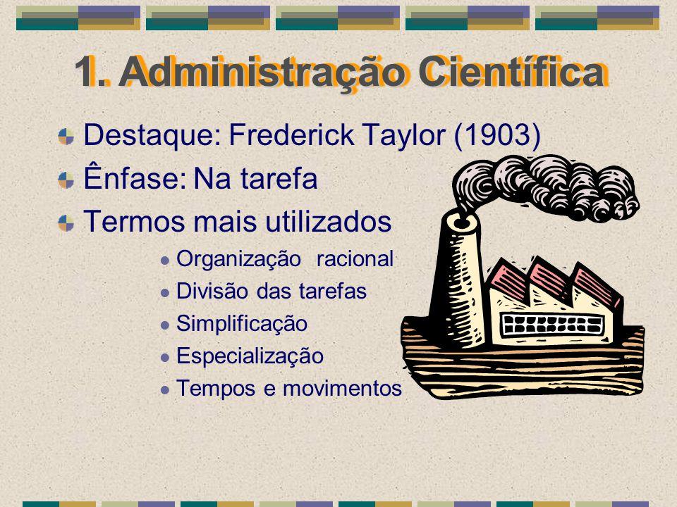 1. Administração Científica Destaque: Frederick Taylor (1903) Ênfase: Na tarefa Termos mais utilizados Organização racional Divisão das tarefas Simpli