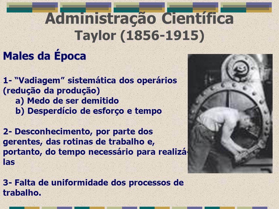 """Administração Científica Taylor (1856-1915) Males da Época 1- """"Vadiagem"""" sistemática dos operários (redução da produção) a) Medo de ser demitido b) De"""