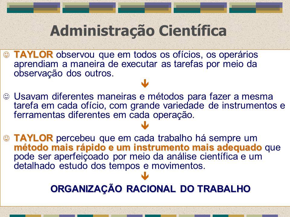 Administração Científica J TAYLOR J TAYLOR observou que em todos os ofícios, os operários aprendiam a maneira de executar as tarefas por meio da obser