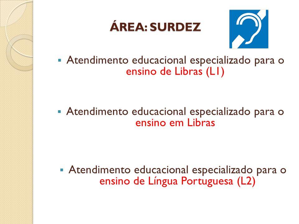 ÁREA: SURDEZ ÁREA: SURDEZ  Atendimento educacional especializado para o ensino de Libras (L1)  Atendimento educacional especializado para o ensino em Libras  Atendimento educacional especializado para o ensino de Língua Portuguesa (L2)