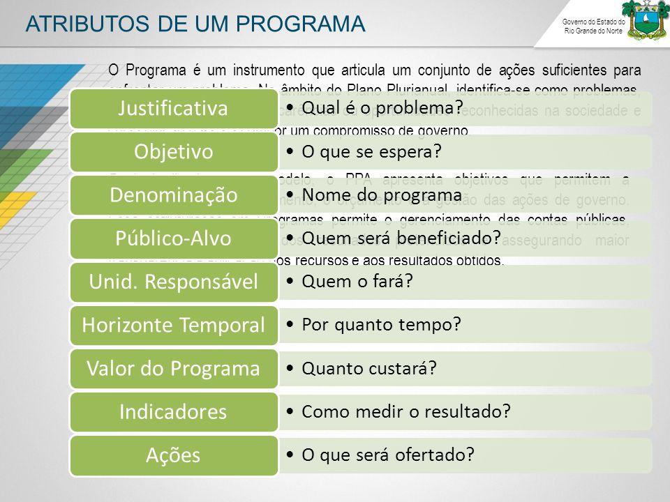 ATRIBUTOS DE UM PROGRAMA Governo do Estado do Rio Grande do Norte O Programa é um instrumento que articula um conjunto de ações suficientes para enfrentar um problema.