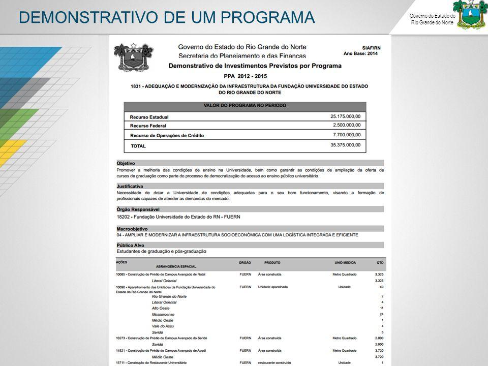 DEMONSTRATIVO DE UM PROGRAMA Governo do Estado do Rio Grande do Norte