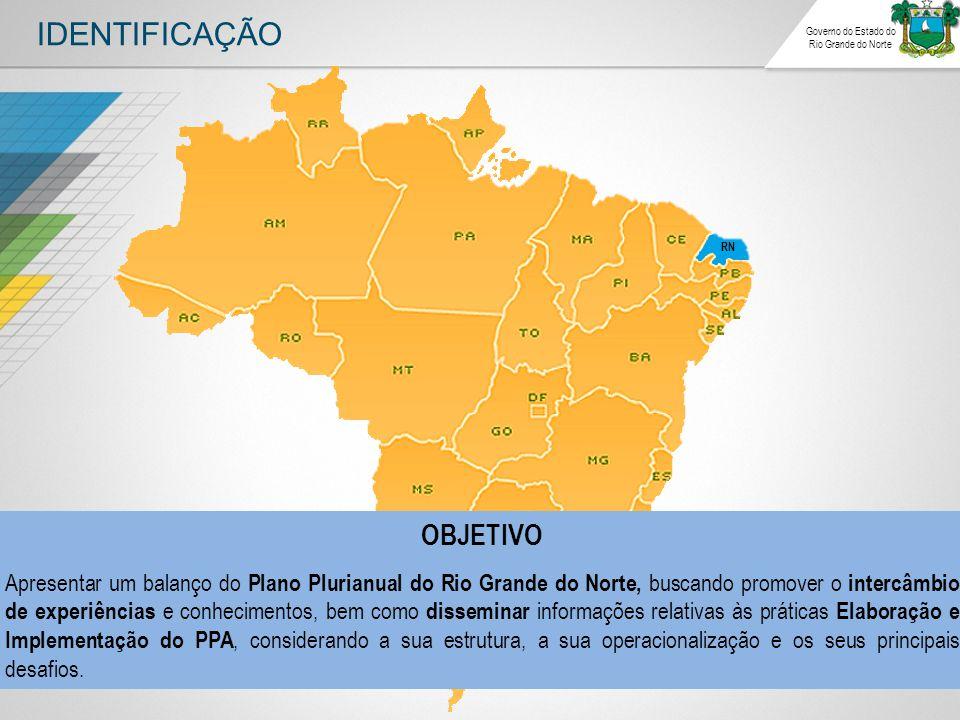 IDENTIFICAÇÃO Governo do Estado do Rio Grande do Norte RN OBJETIVO Apresentar um balanço do Plano Plurianual do Rio Grande do Norte, buscando promover