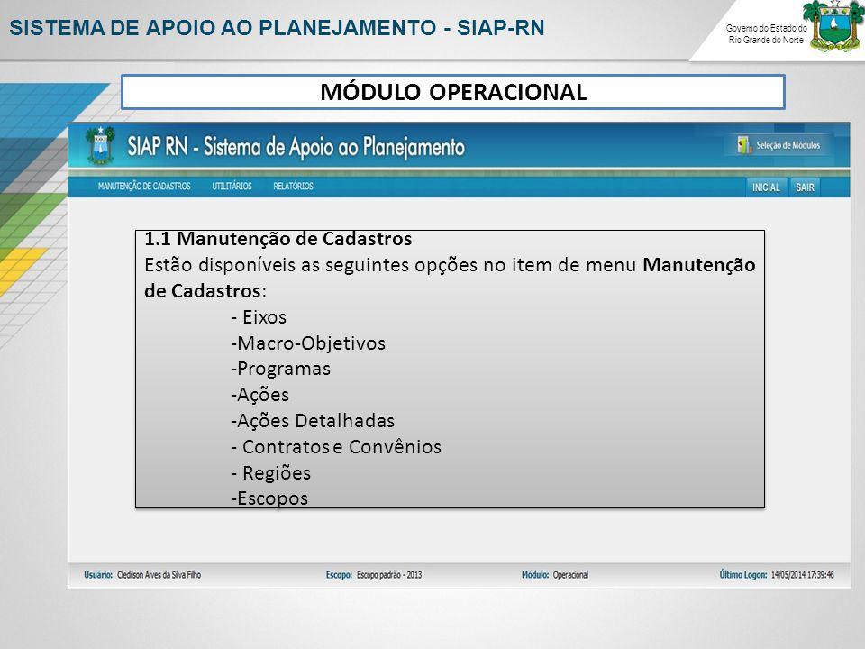 Governo do Estado do Rio Grande do Norte SISTEMA DE APOIO AO PLANEJAMENTO - SIAP-RN 1.1 Manutenção de Cadastros Estão disponíveis as seguintes opções