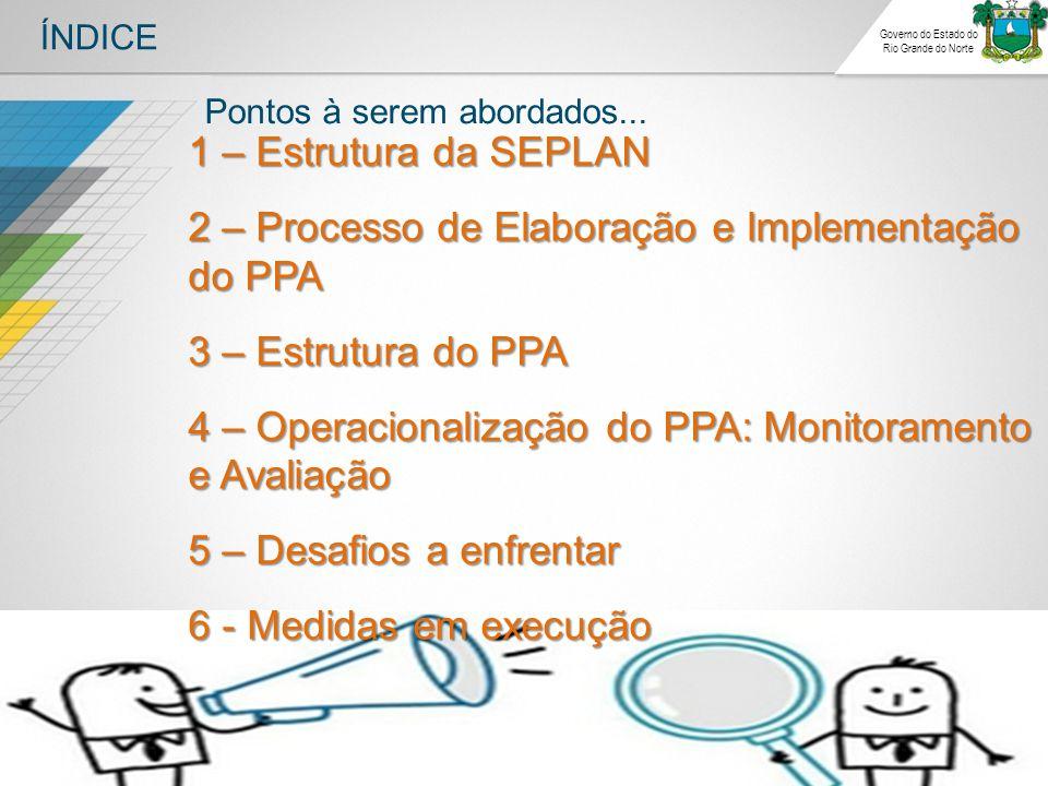 ÍNDICE Governo do Estado do Rio Grande do Norte 1 – Estrutura da SEPLAN 2 – Processo de Elaboração e Implementação do PPA 3 – Estrutura do PPA 4 – Ope