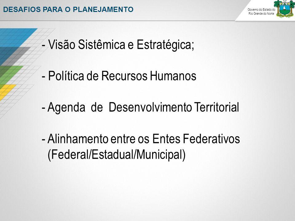 DESAFIOS PARA O PLANEJAMENTO - Visão Sistêmica e Estratégica; - Política de Recursos Humanos - Agenda de Desenvolvimento Territorial - Alinhamento entre os Entes Federativos (Federal/Estadual/Municipal)