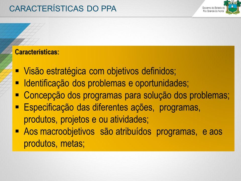 CARACTERÍSTICAS DO PPA Governo do Estado do Rio Grande do Norte Características:  Visão estratégica com objetivos definidos;  Identificação dos prob