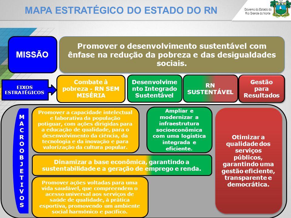 MAPA ESTRATÉGICO DO ESTADO DO RN Governo do Estado do Rio Grande do Norte MISSÃO Promover o desenvolvimento sustentável com ênfase na redução da pobreza e das desigualdades sociais.