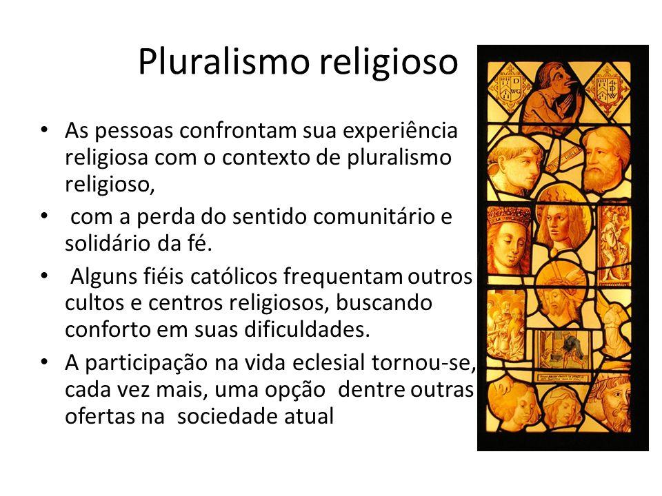 Pluralismo religioso As pessoas confrontam sua experiência religiosa com o contexto de pluralismo religioso, com a perda do sentido comunitário e soli