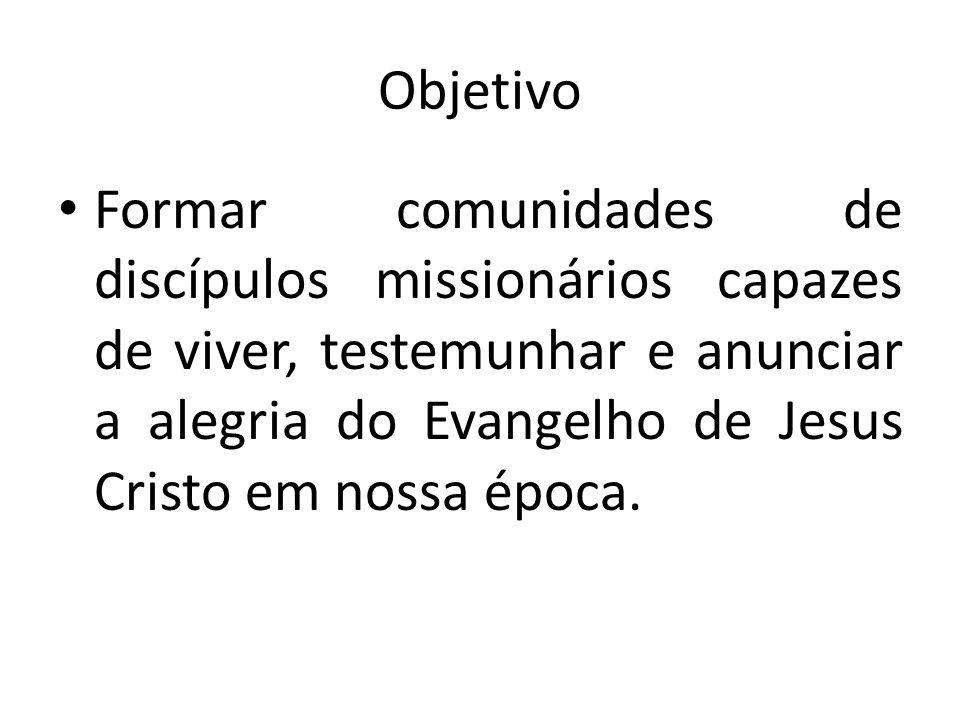 Objetivo Formar comunidades de discípulos missionários capazes de viver, testemunhar e anunciar a alegria do Evangelho de Jesus Cristo em nossa época.