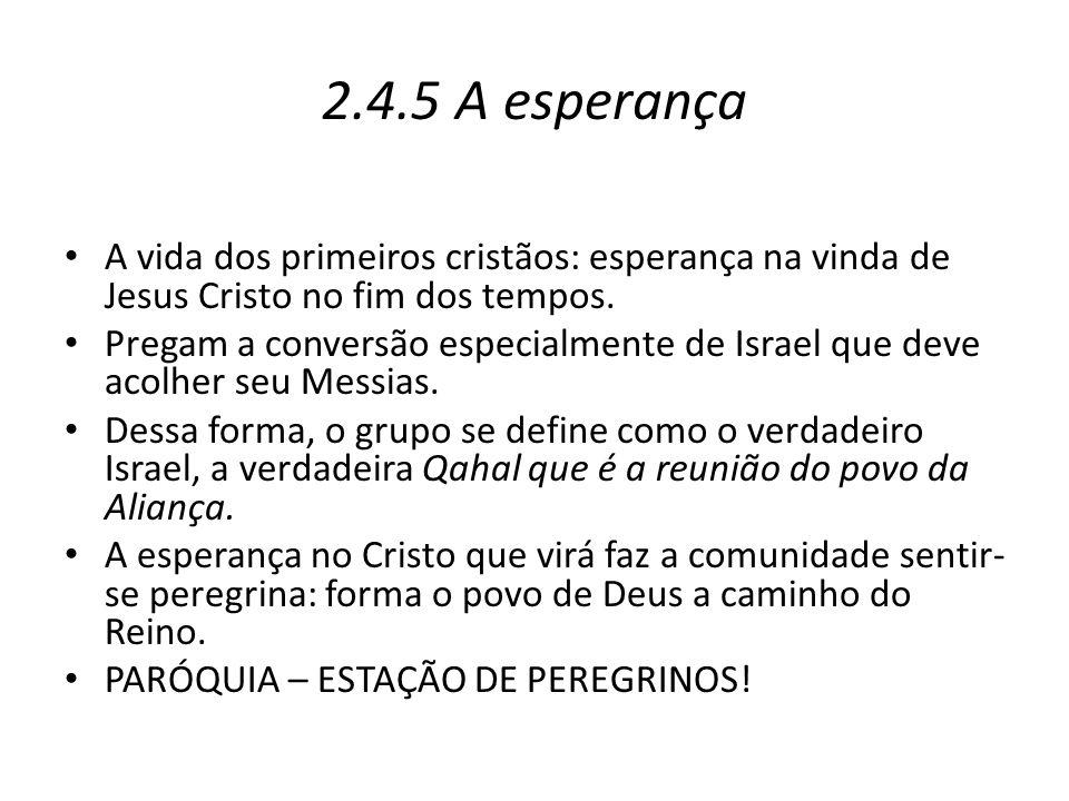2.4.5 A esperança A vida dos primeiros cristãos: esperança na vinda de Jesus Cristo no fim dos tempos. Pregam a conversão especialmente de Israel que