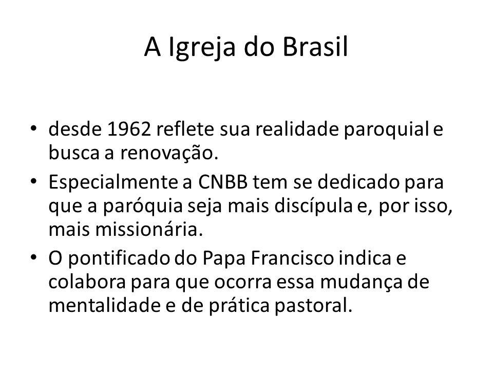 A Igreja do Brasil desde 1962 reflete sua realidade paroquial e busca a renovação. Especialmente a CNBB tem se dedicado para que a paróquia seja mais