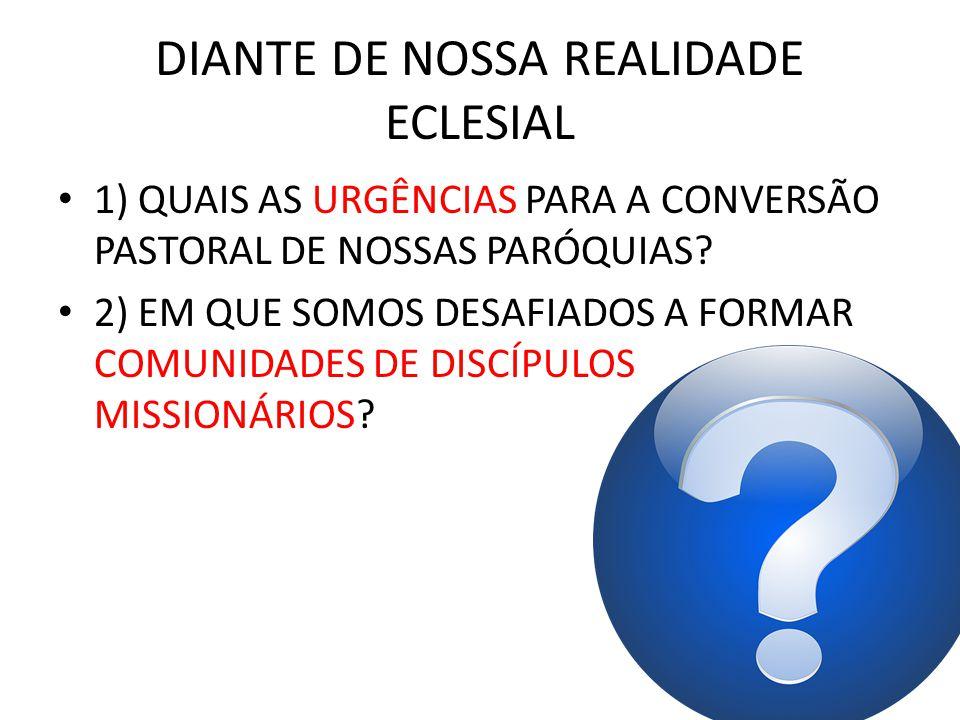 DIANTE DE NOSSA REALIDADE ECLESIAL 1) QUAIS AS URGÊNCIAS PARA A CONVERSÃO PASTORAL DE NOSSAS PARÓQUIAS? 2) EM QUE SOMOS DESAFIADOS A FORMAR COMUNIDADE