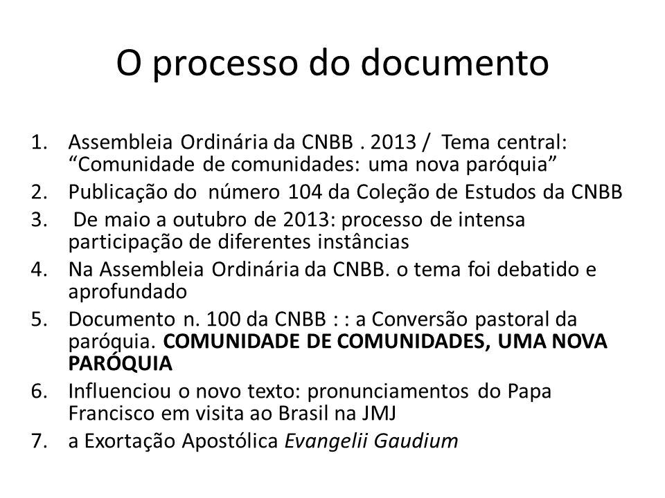 """O processo do documento 1.Assembleia Ordinária da CNBB. 2013 / Tema central: """"Comunidade de comunidades: uma nova paróquia"""" 2.Publicação do número 104"""