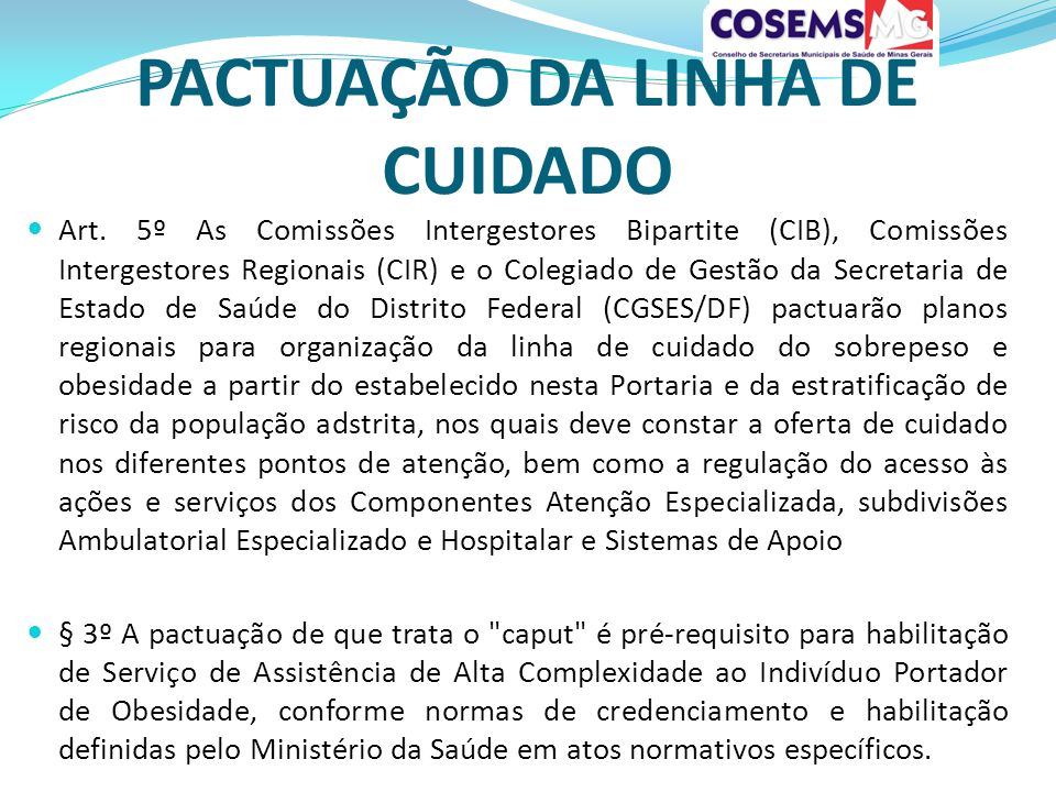 PACTUAÇÃO DA LINHA DE CUIDADO Art.