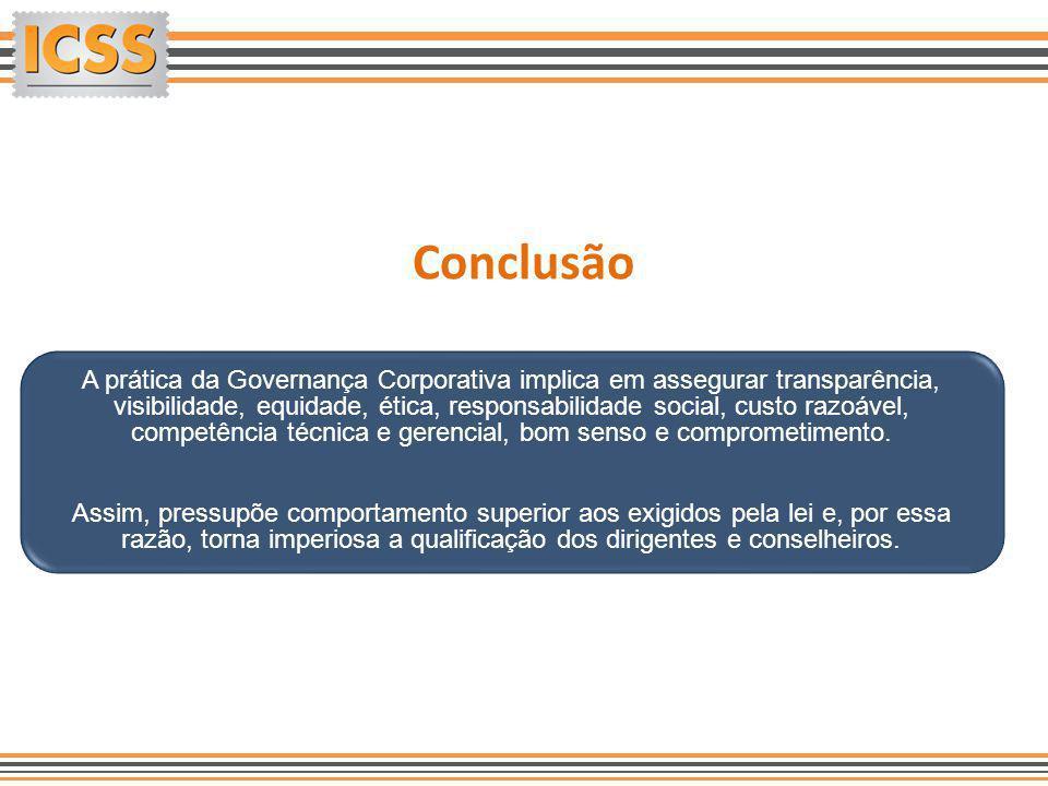 Conclusão A prática da Governança Corporativa implica em assegurar transparência, visibilidade, equidade, ética, responsabilidade social, custo razoáv