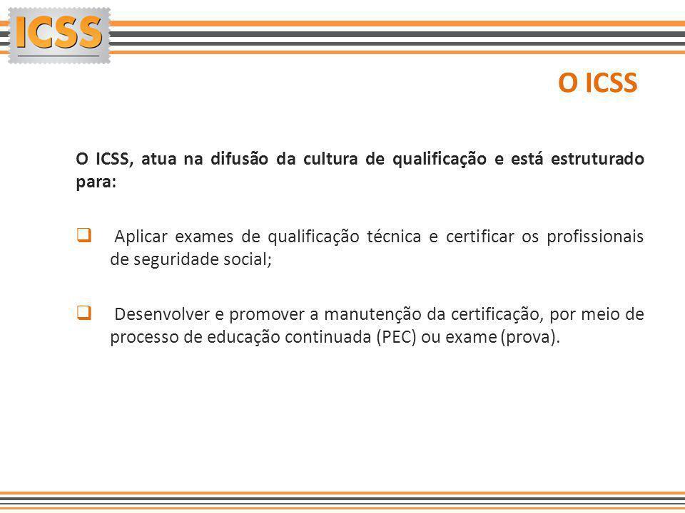 O ICSS O ICSS, atua na difusão da cultura de qualificação e está estruturado para:  Aplicar exames de qualificação técnica e certificar os profission