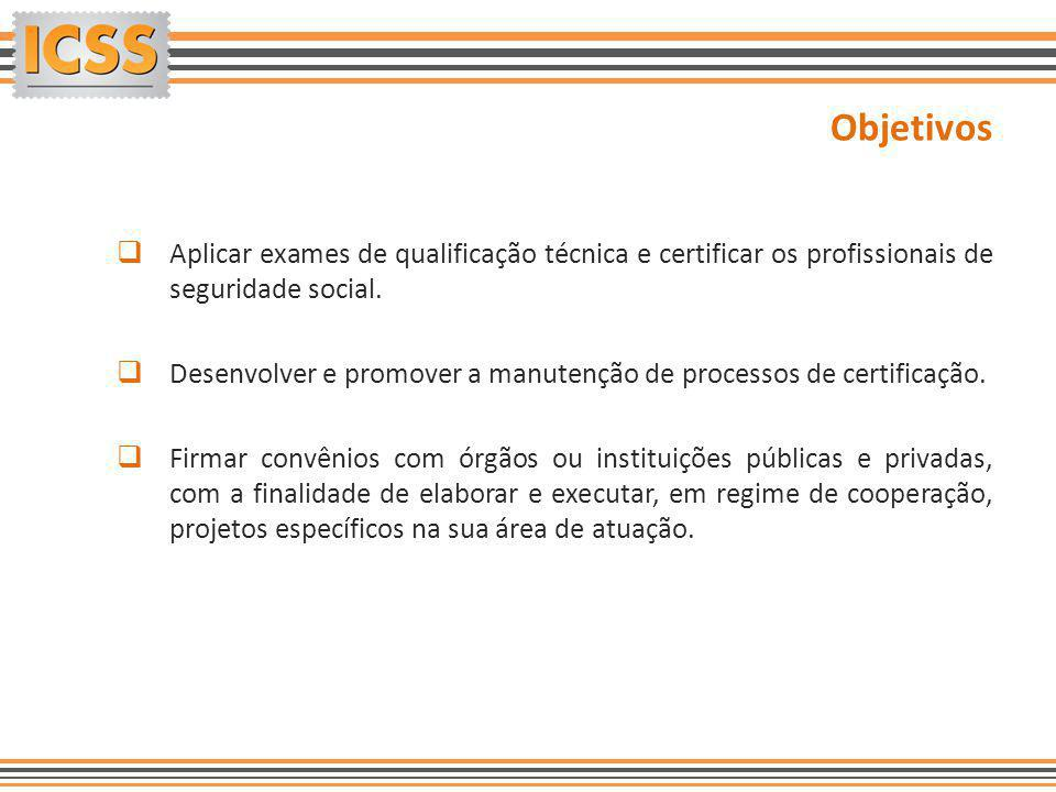 Objetivos  Aplicar exames de qualificação técnica e certificar os profissionais de seguridade social.  Desenvolver e promover a manutenção de proces