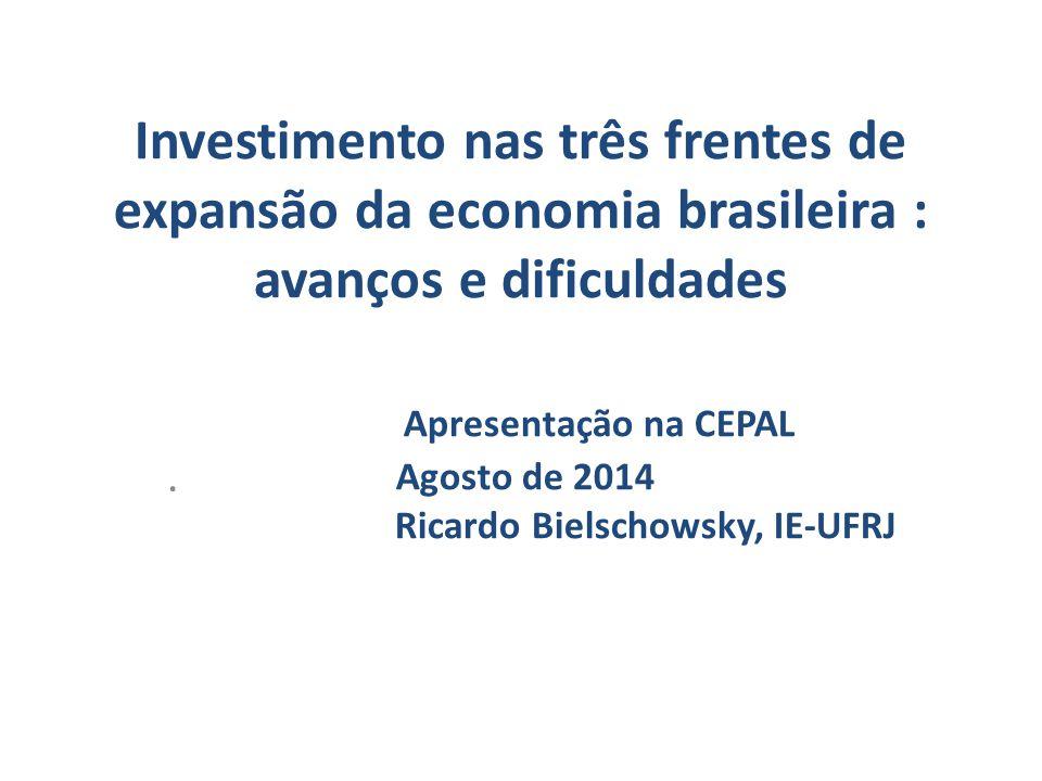 Investimento nas três frentes de expansão da economia brasileira : avanços e dificuldades Apresentação na CEPAL Agosto de 2014 Ricardo Bielschowsky, IE-UFRJ.