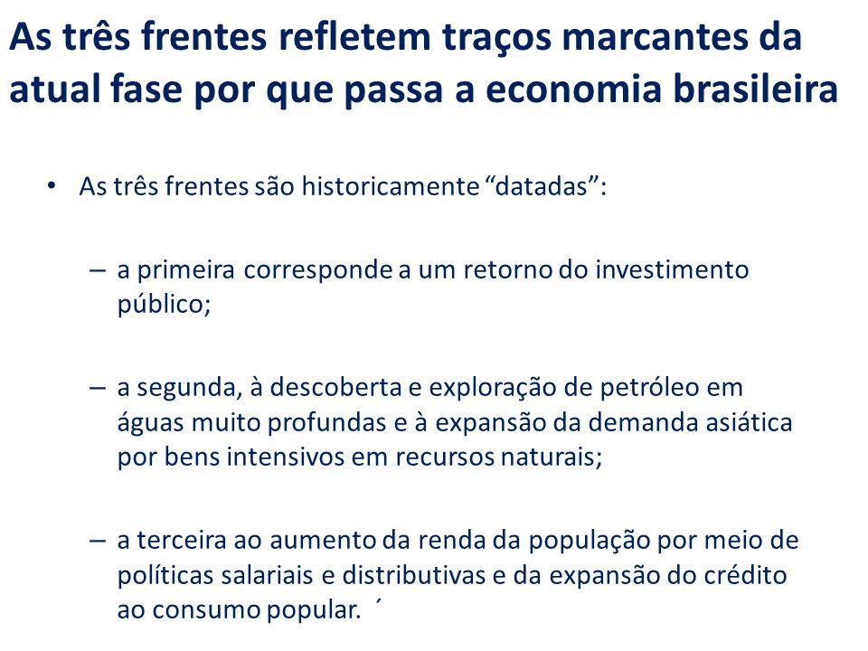 """As três frentes refletem traços marcantes da atual fase por que passa a economia brasileira As três frentes são historicamente """"datadas"""": – a primeira"""
