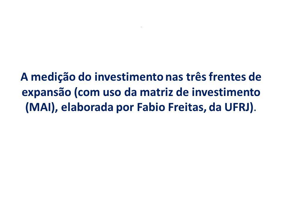 . A medição do investimento nas três frentes de expansão (com uso da matriz de investimento (MAI), elaborada por Fabio Freitas, da UFRJ).
