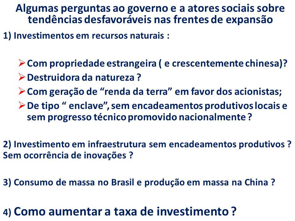 Algumas perguntas ao governo e a atores sociais sobre tendências desfavoráveis nas frentes de expansão 1) Investimentos em recursos naturais :  Com propriedade estrangeira ( e crescentemente chinesa).
