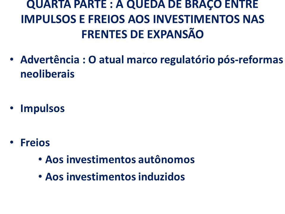 QUARTA PARTE : A QUEDA DE BRAÇO ENTRE IMPULSOS E FREIOS AOS INVESTIMENTOS NAS FRENTES DE EXPANSÃO. Advertência : O atual marco regulatório pós-reforma