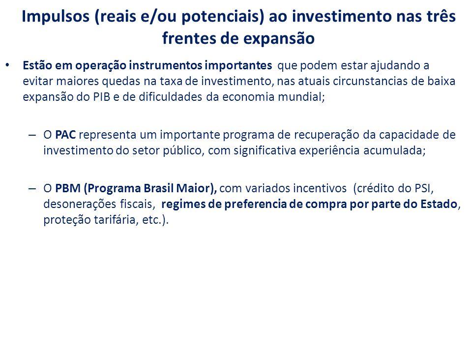 Impulsos (reais e/ou potenciais) ao investimento nas três frentes de expansão Estão em operação instrumentos importantes que podem estar ajudando a evitar maiores quedas na taxa de investimento, nas atuais circunstancias de baixa expansão do PIB e de dificuldades da economia mundial; – O PAC representa um importante programa de recuperação da capacidade de investimento do setor público, com significativa experiência acumulada; – O PBM (Programa Brasil Maior), com variados incentivos (crédito do PSI, desonerações fiscais, regimes de preferencia de compra por parte do Estado, proteção tarifária, etc.).