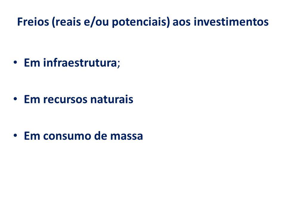 Freios (reais e/ou potenciais) aos investimentos Em infraestrutura; Em recursos naturais Em consumo de massa