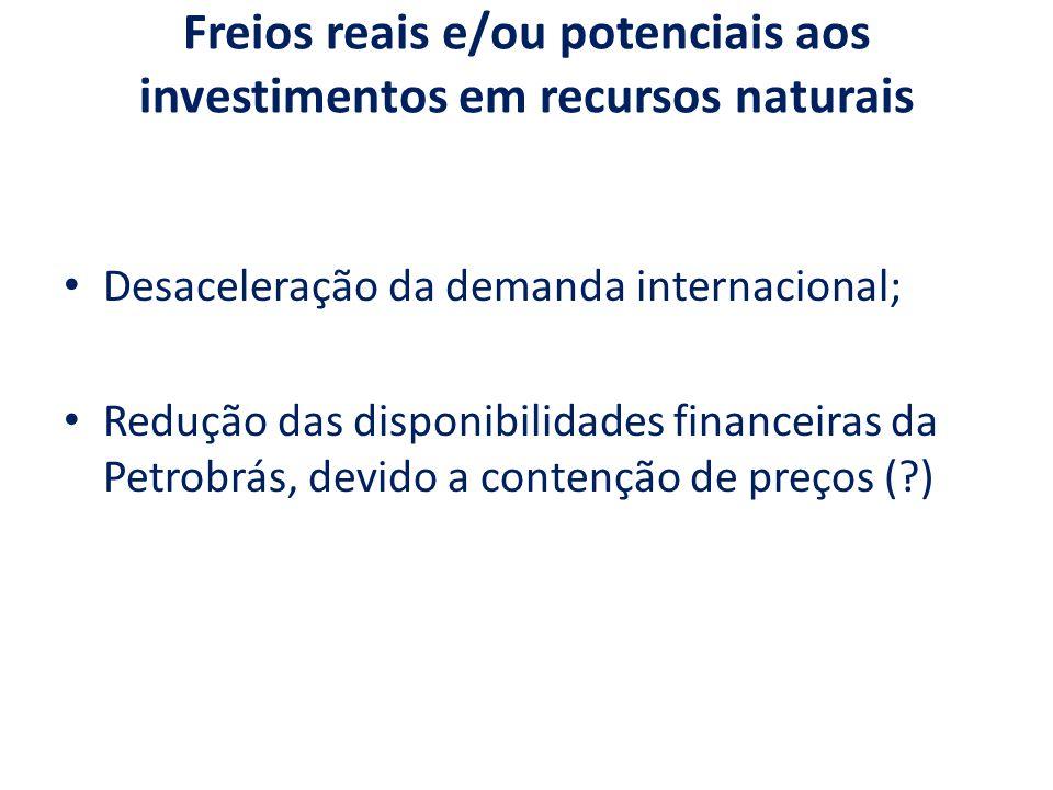 Freios reais e/ou potenciais aos investimentos em recursos naturais Desaceleração da demanda internacional; Redução das disponibilidades financeiras da Petrobrás, devido a contenção de preços (?)