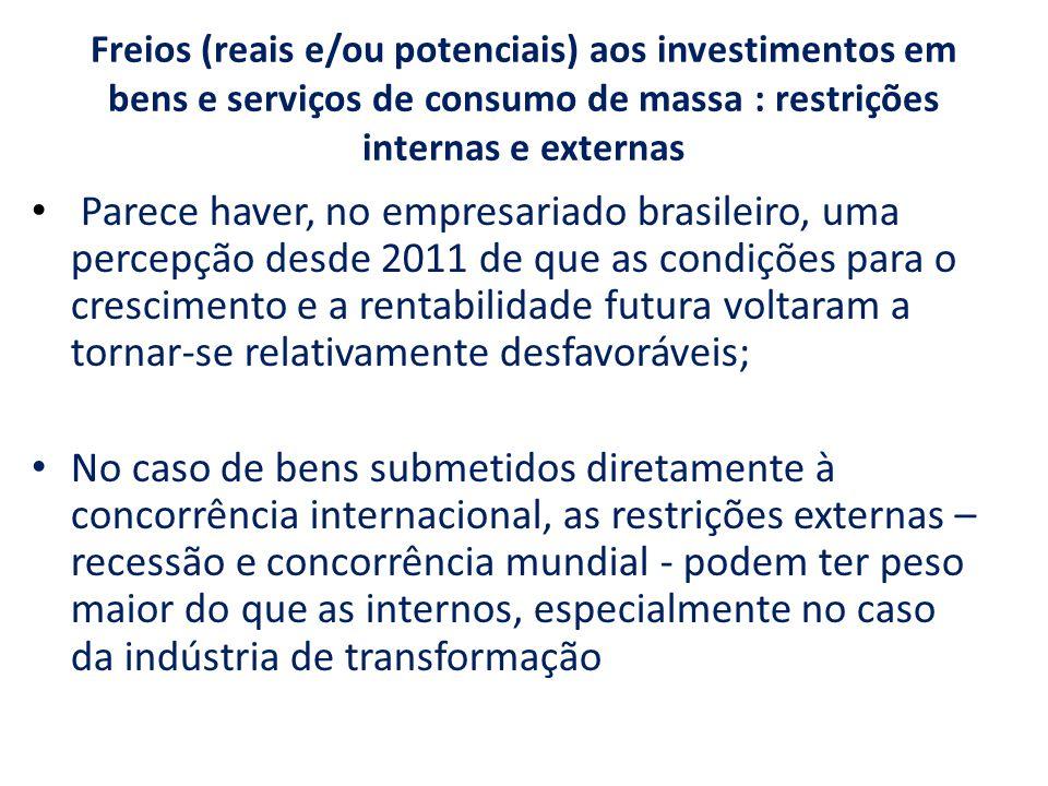 Freios (reais e/ou potenciais) aos investimentos em bens e serviços de consumo de massa : restrições internas e externas Parece haver, no empresariado