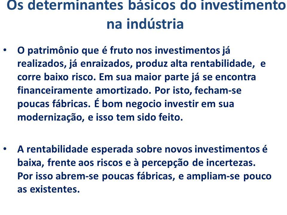 Os determinantes básicos do investimento na indústria O patrimônio que é fruto nos investimentos já realizados, já enraizados, produz alta rentabilida