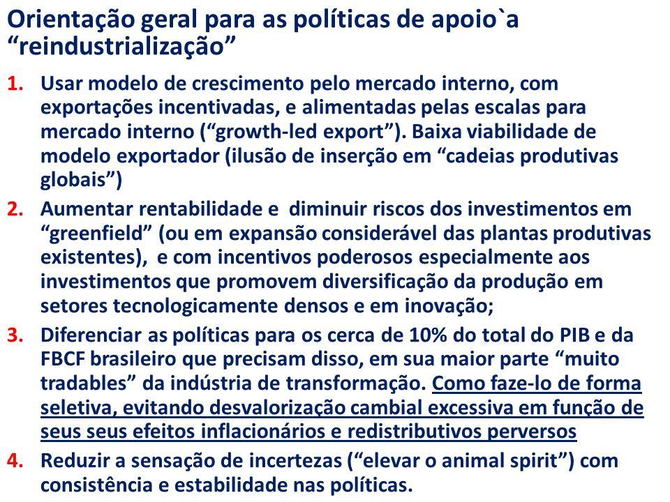 Orientação geral para as políticas de apoio`a reindustrialização 1.Usar modelo de crescimento pelo mercado interno, com exportações incentivadas, e alimentadas pelas escalas para mercado interno ( growth-led export ).