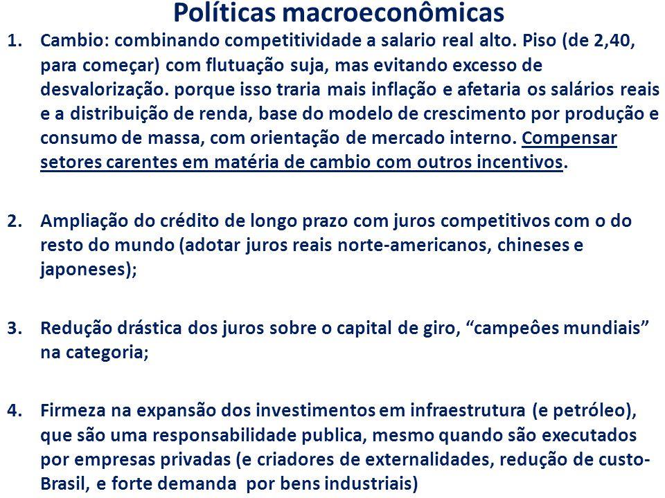 Políticas macroeconômicas 1.Cambio: combinando competitividade a salario real alto. Piso (de 2,40, para começar) com flutuação suja, mas evitando exce