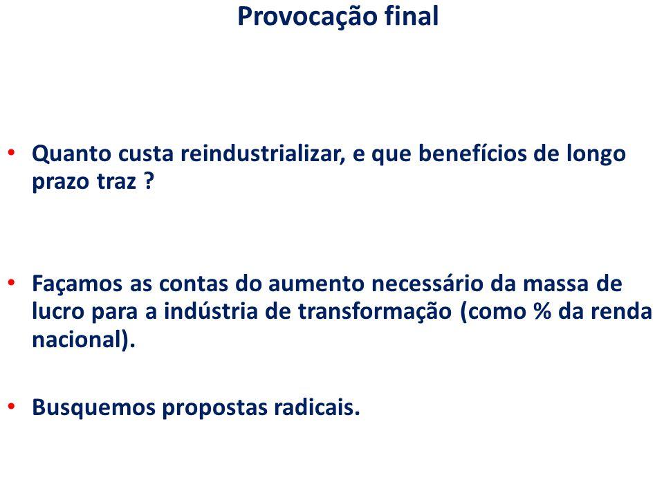 Provocação final Quanto custa reindustrializar, e que benefícios de longo prazo traz ? Façamos as contas do aumento necessário da massa de lucro para