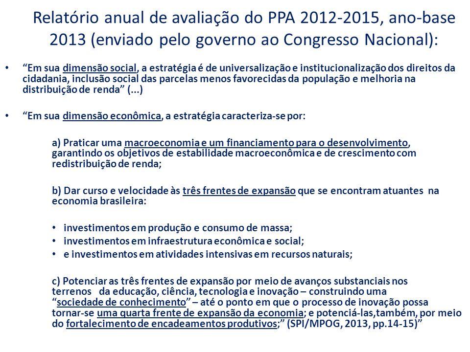 """Relatório anual de avaliação do PPA 2012-2015, ano-base 2013 (enviado pelo governo ao Congresso Nacional): """"Em sua dimensão social, a estratégia é de"""