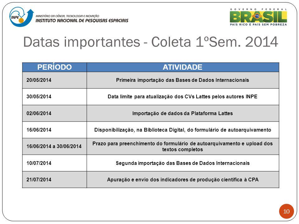 Datas importantes - Coleta 1ºSem. 2014 10 PERÍODOATIVIDADE 20/05/2014Primeira importação das Bases de Dados Internacionais 30/05/2014Data limite para
