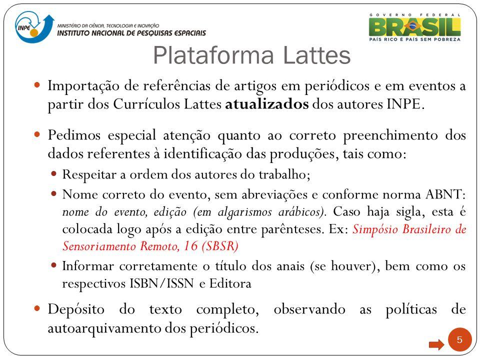 Plataforma Lattes 5 Importação de referências de artigos em periódicos e em eventos a partir dos Currículos Lattes atualizados dos autores INPE. Pedim