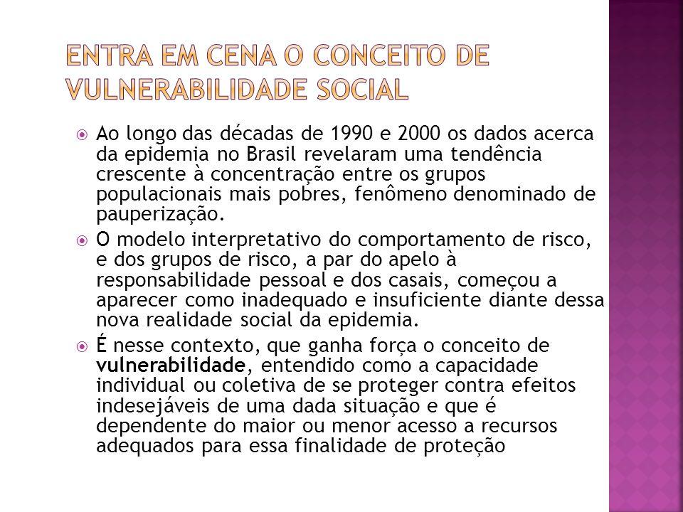  Ao longo das décadas de 1990 e 2000 os dados acerca da epidemia no Brasil revelaram uma tendência crescente à concentração entre os grupos populacionais mais pobres, fenômeno denominado de pauperização.