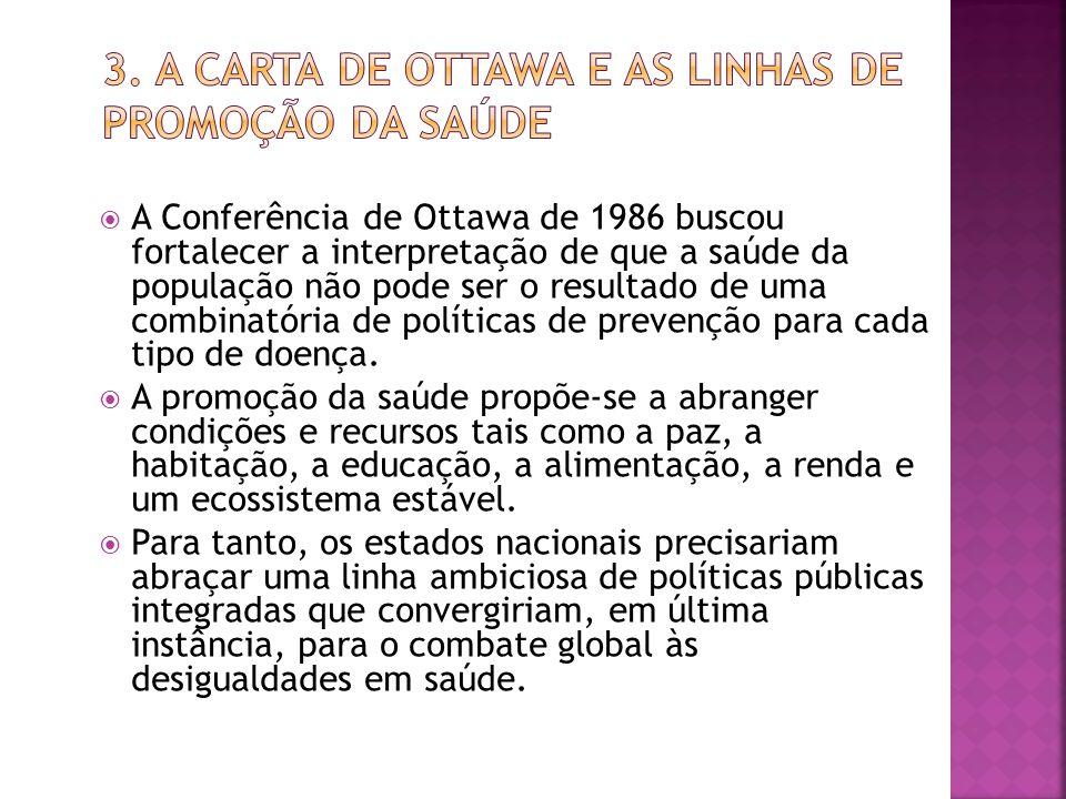  A Conferência de Ottawa de 1986 buscou fortalecer a interpretação de que a saúde da população não pode ser o resultado de uma combinatória de políticas de prevenção para cada tipo de doença.