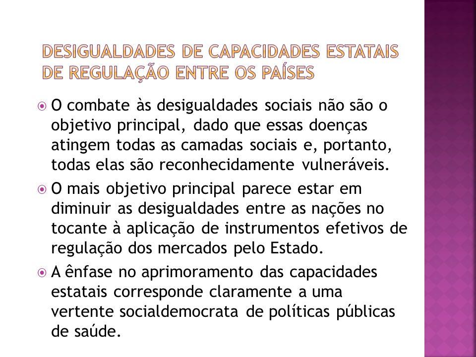  O combate às desigualdades sociais não são o objetivo principal, dado que essas doenças atingem todas as camadas sociais e, portanto, todas elas são reconhecidamente vulneráveis.