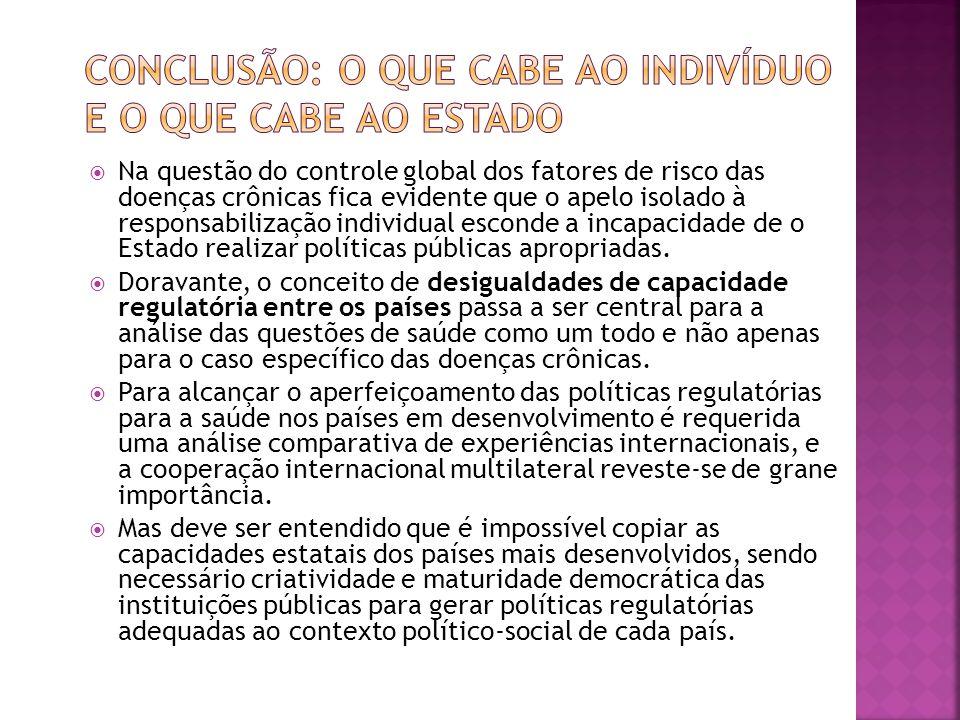  Na questão do controle global dos fatores de risco das doenças crônicas fica evidente que o apelo isolado à responsabilização individual esconde a incapacidade de o Estado realizar políticas públicas apropriadas.