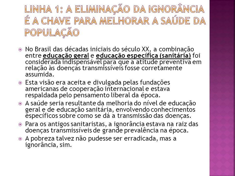  No Brasil das décadas iniciais do século XX, a combinação entre educação geral e educação específica (sanitária) foi considerada indispensável para que a atitude preventiva em relação às doenças transmissíveis fosse corretamente assumida.